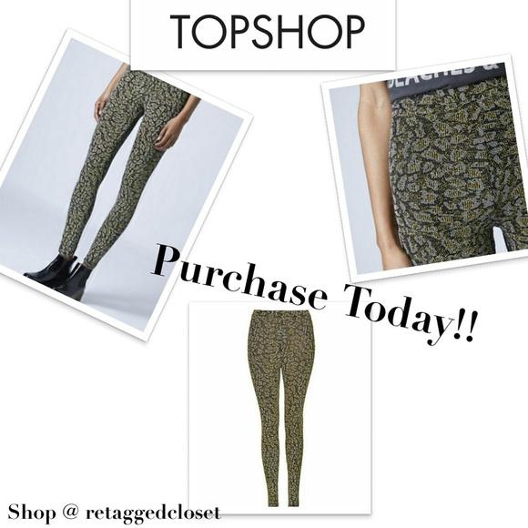23b2725ecc7a Topshop Pants | Leopard Print Glitter Leggings | Poshmark